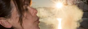 exhale gently