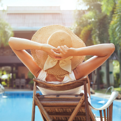 Woman enjoying time by the pool